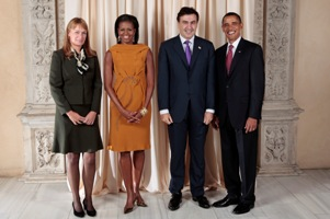 President Barack Obama and First Lady Michelle Obama pose for a photo during a reception at the Metropolitan Museum in New York with, H.E. Mikheil Saakashvili President of Georgia and H.E. Sandra Elisabeth Roulofs, Wednesday, Sept. 23, 2009. (Official White House Photo by Lawrence Jackson) This official White House photograph is being made available only for publication by news organizations and/or for personal use printing by the subject(s) of the photograph. The photograph may not be manipulated in any way and may not be used in commercial or political materials, advertisements, emails, products, or promotions that in any way suggests approval or endorsement of the President, the First Family, or the White House.