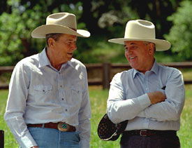 Reagan_and_Gorbachev_in_western_hats_1992